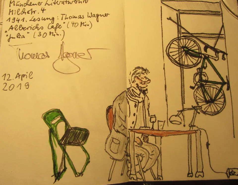 Thomas Wager, gesehen von Claudia Körber, Urban Sketchers Munich